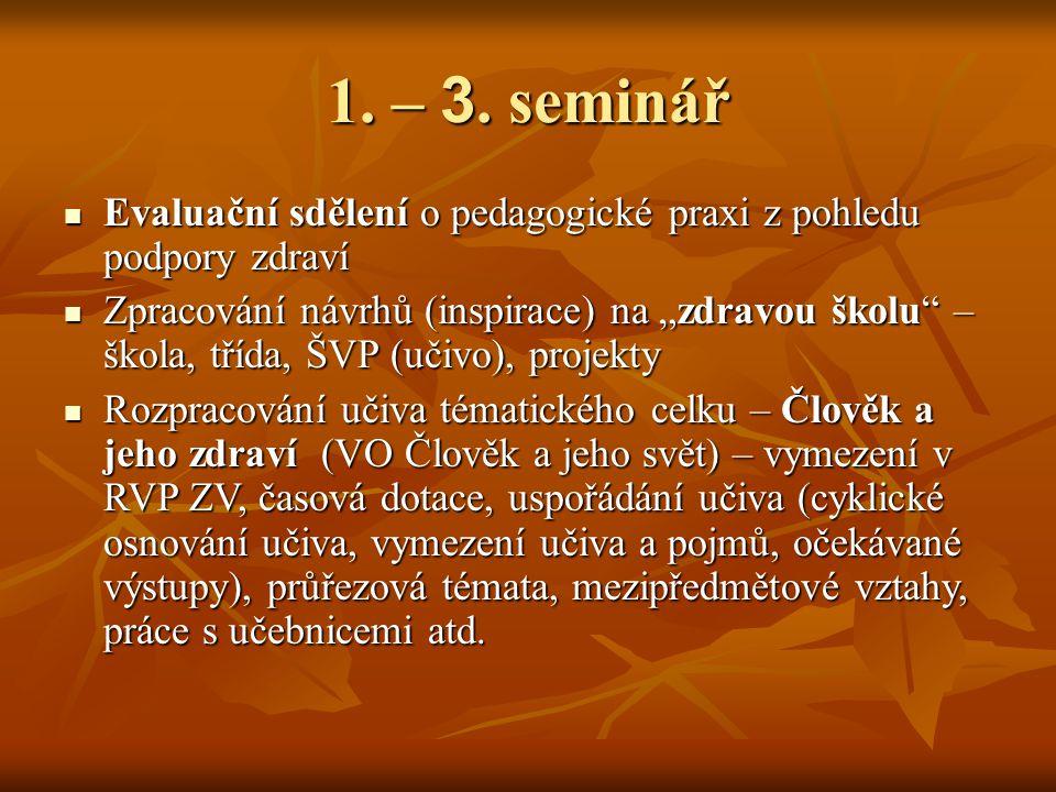 1. – 3. seminář Evaluační sdělení o pedagogické praxi z pohledu podpory zdraví Evaluační sdělení o pedagogické praxi z pohledu podpory zdraví Zpracová