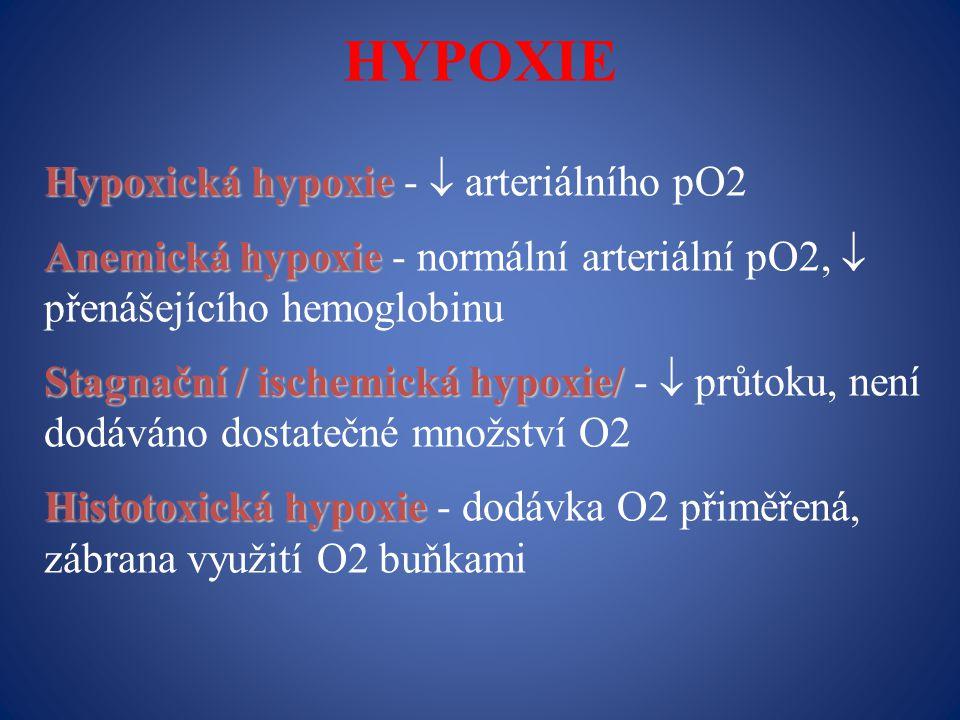 HYPOXIE Hypoxická hypoxie Hypoxická hypoxie -  arteriálního pO2 Anemická hypoxie Anemická hypoxie - normální arteriální pO2,  přenášejícího hemoglobinu Stagnační / ischemická hypoxie/ Stagnační / ischemická hypoxie/ -  průtoku, není dodáváno dostatečné množství O2 Histotoxická hypoxie Histotoxická hypoxie - dodávka O2 přiměřená, zábrana využití O2 buňkami