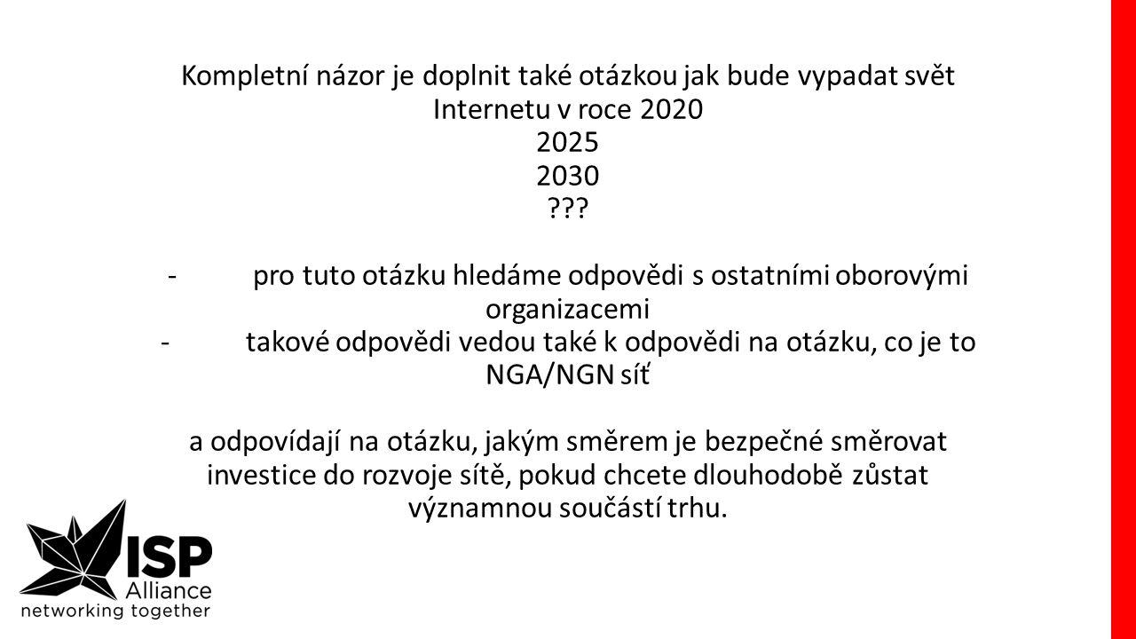 Kompletní názor je doplnit také otázkou jak bude vypadat svět Internetu v roce 2020 2025 2030 ??.