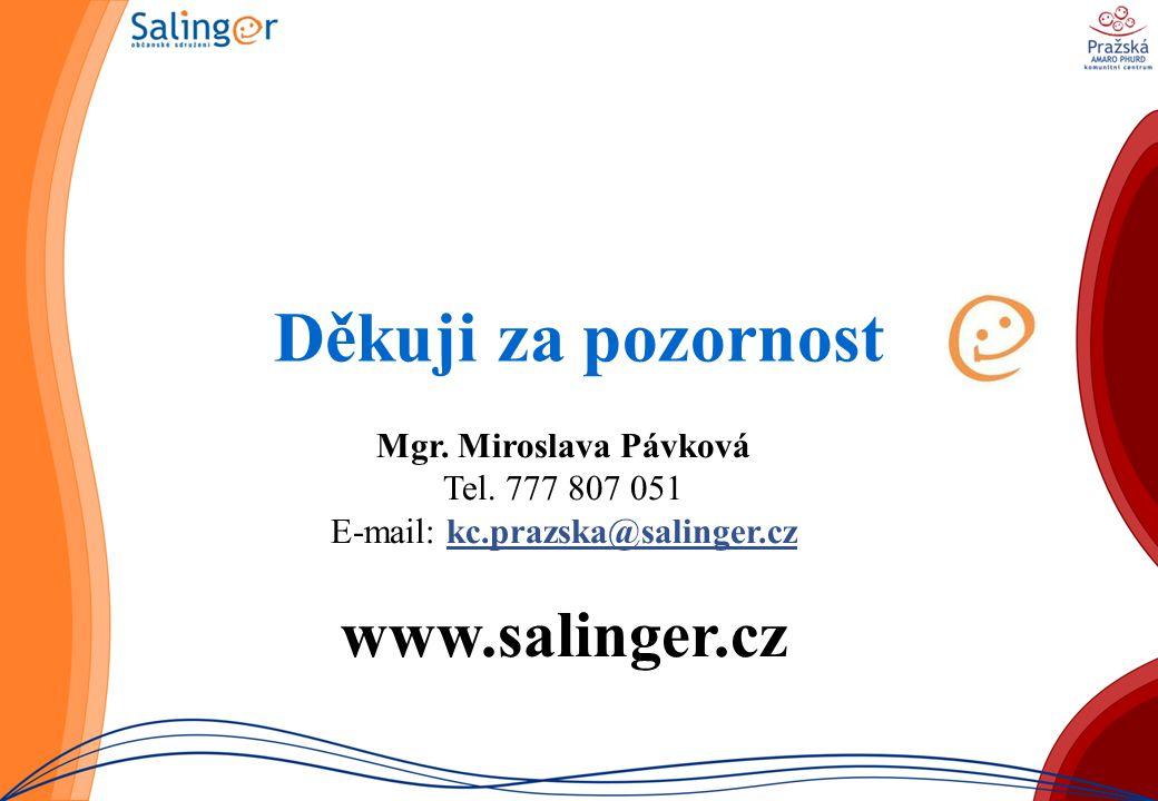 Děkuji za pozornost Mgr. Miroslava Pávková Tel. 777 807 051 E-mail: kc.prazska@salinger.czkc.prazska@salinger.cz www.salinger.cz