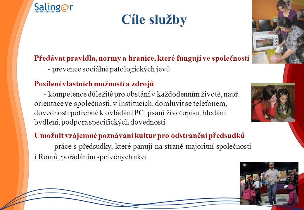 Cíle služby Předávat pravidla, normy a hranice, které fungují ve společnosti - prevence sociálně patologických jevů Posílení vlastních možností a zdro