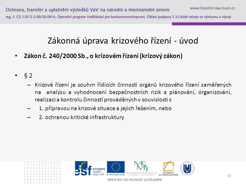 Zákonná úprava krizového řízení - úvod Zákon č.
