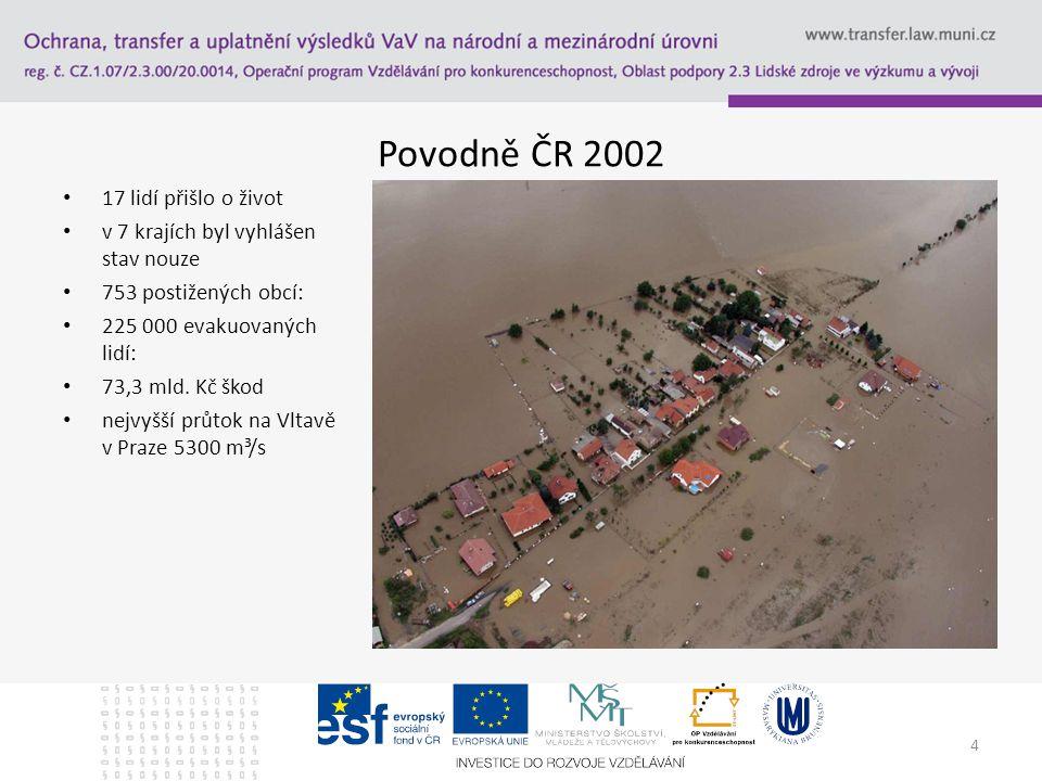 Povodně ČR 2002 17 lidí přišlo o život v 7 krajích byl vyhlášen stav nouze 753 postižených obcí: 225 000 evakuovaných lidí: 73,3 mld.