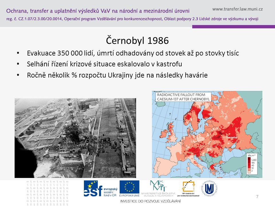 Černobyl 1986 Evakuace 350 000 lidí, úmrtí odhadovány od stovek až po stovky tisíc Selhání řízení krizové situace eskalovalo v kastrofu Ročně několik % rozpočtu Ukrajiny jde na následky havárie 7