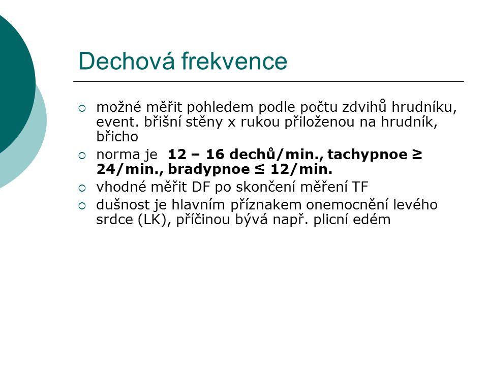Dechová frekvence  možné měřit pohledem podle počtu zdvihů hrudníku, event.