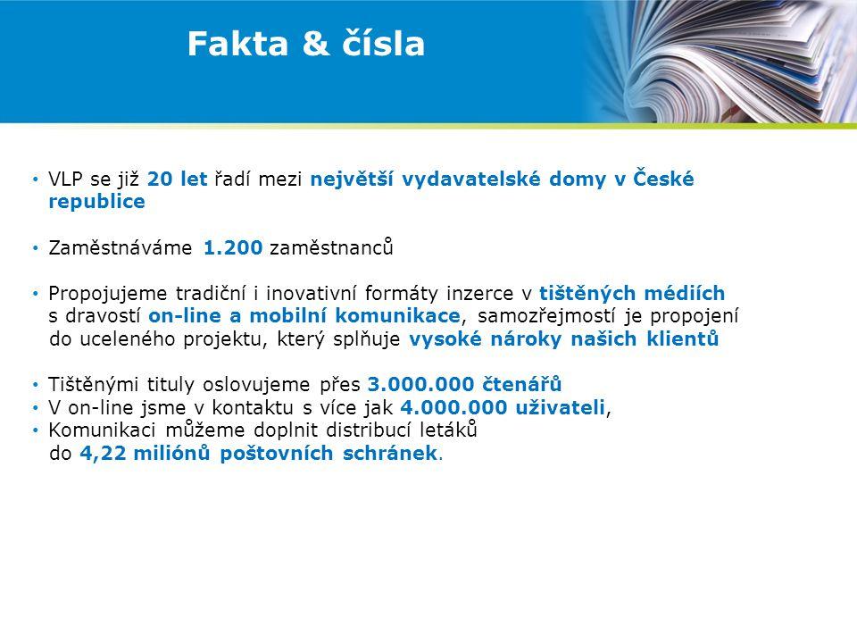 Fakta & čísla VLP se již 20 let řadí mezi největší vydavatelské domy v České republice Zaměstnáváme 1.200 zaměstnanců Propojujeme tradiční i inovativní formáty inzerce v tištěných médiích s dravostí on-line a mobilní komunikace, samozřejmostí je propojení do uceleného projektu, který splňuje vysoké nároky našich klientů Tištěnými tituly oslovujeme přes 3.000.000 čtenářů V on-line jsme v kontaktu s více jak 4.000.000 uživateli, Komunikaci můžeme doplnit distribucí letáků do 4,22 miliónů poštovních schránek.