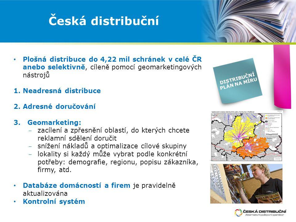 Česká distribuční Plošná distribuce do 4,22 mil schránek v celé ČR anebo selektivně, cíleně pomocí geomarketingových nástrojů 1.Neadresná distribuce 2.
