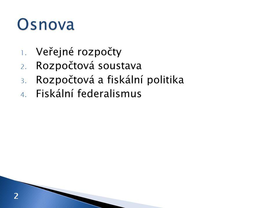1. Veřejné rozpočty 2. Rozpočtová soustava 3. Rozpočtová a fiskální politika 4. Fiskální federalismus 2