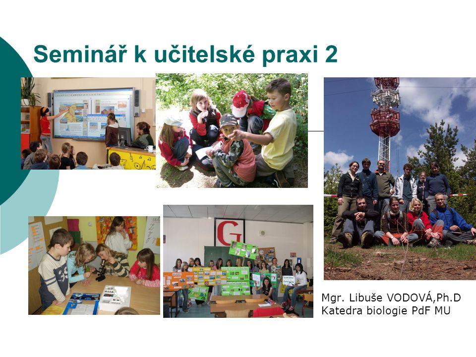 Seminář k učitelské praxi 2 Mgr. Libuše VODOVÁ,Ph.D Katedra biologie PdF MU