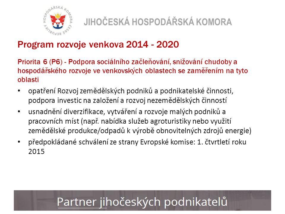 Program rozvoje venkova 2014 - 2020 Priorita 6 (P6) - Podpora sociálního začleňování, snižování chudoby a hospodářského rozvoje ve venkovských oblastech se zaměřením na tyto oblasti opatření Rozvoj zemědělských podniků a podnikatelské činnosti, podpora investic na založení a rozvoj nezemědělských činností usnadnění diverzifikace, vytváření a rozvoje malých podniků a pracovních míst (např.