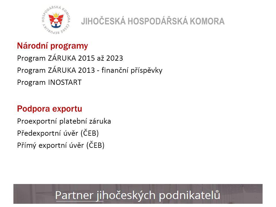 Národní programy Program ZÁRUKA 2015 až 2023 Program ZÁRUKA 2013 - finanční příspěvky Program INOSTART Podpora exportu Proexportní platební záruka Předexportní úvěr (ČEB) Přímý exportní úvěr (ČEB)