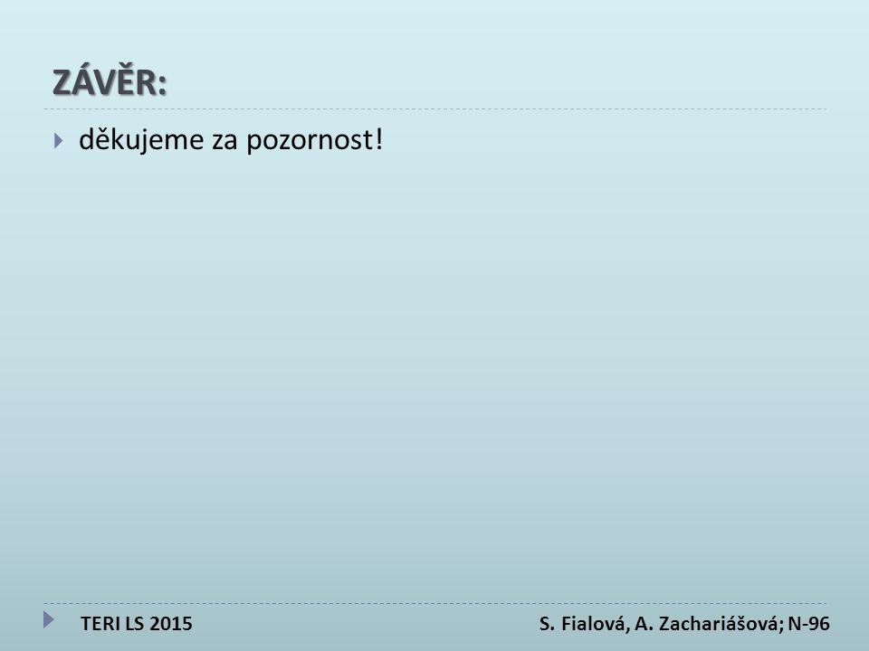 ZÁVĚR:  děkujeme za pozornost! TERI LS 2015 S. Fialová, A. Zachariášová; N-96