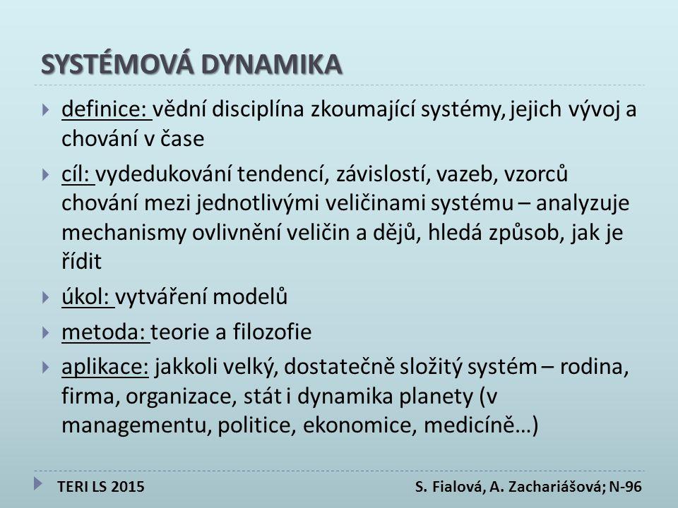 SYSTÉMOVÁ DYNAMIKA  definice: vědní disciplína zkoumající systémy, jejich vývoj a chování v čase  cíl: vydedukování tendencí, závislostí, vazeb, vzorců chování mezi jednotlivými veličinami systému – analyzuje mechanismy ovlivnění veličin a dějů, hledá způsob, jak je řídit  úkol: vytváření modelů  metoda: teorie a filozofie  aplikace: jakkoli velký, dostatečně složitý systém – rodina, firma, organizace, stát i dynamika planety (v managementu, politice, ekonomice, medicíně…) TERI LS 2015 S.