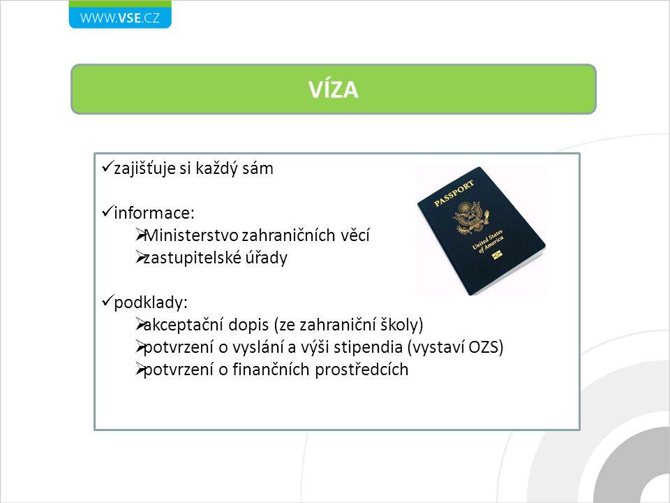 VÍZA zajišťuje si každý sám informace:  Ministerstvo zahraničních věcí  zastupitelské úřady podklady:  akceptační dopis (ze zahraniční školy)  pot