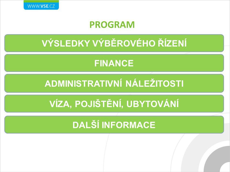 PROGRAM VÝSLEDKY VÝBĚROVÉHO ŘÍZENÍ FINANCE ADMINISTRATIVNÍ NÁLEŽITOSTI VÍZA, POJIŠTĚNÍ, UBYTOVÁNÍ DALŠÍ INFORMACE