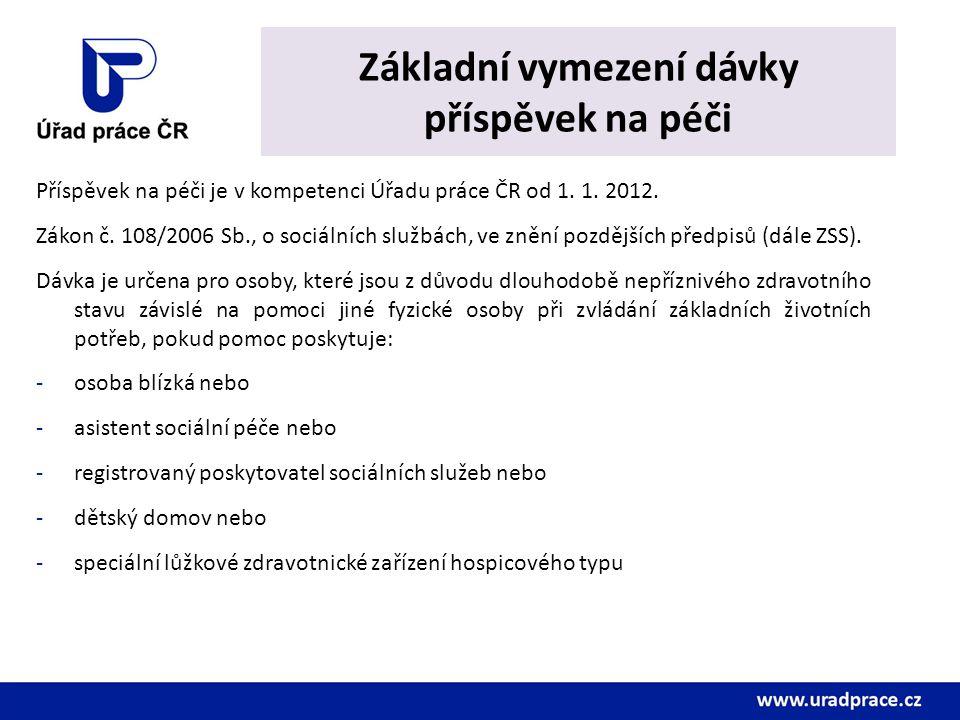 Základní vymezení dávky příspěvek na péči Příspěvek na péči je v kompetenci Úřadu práce ČR od 1. 1. 2012. Zákon č. 108/2006 Sb., o sociálních službách