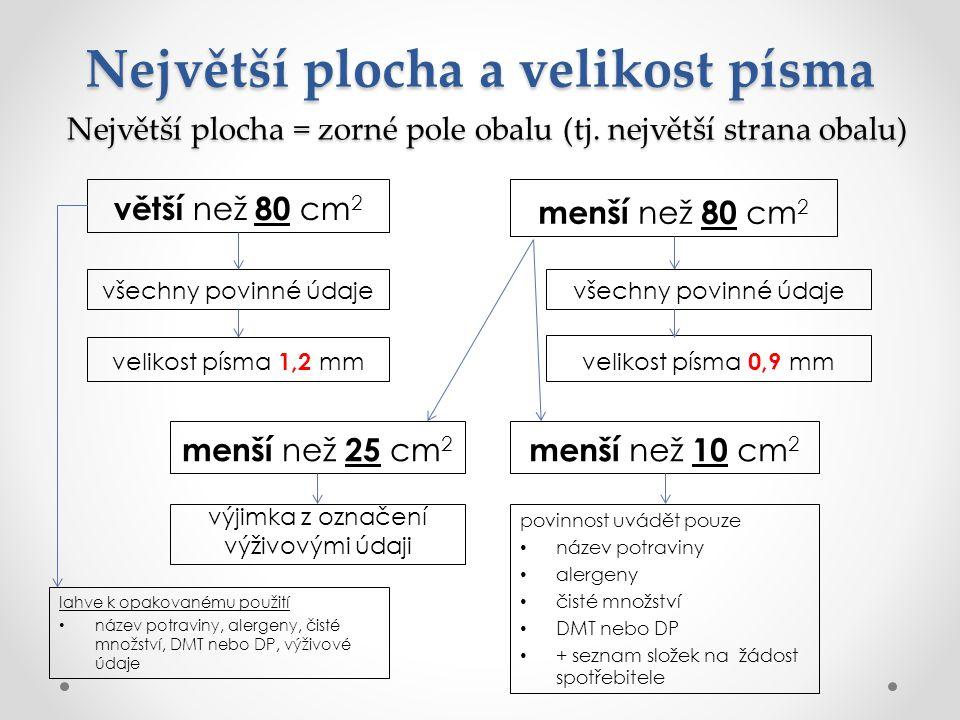 Největší plocha = zorné pole obalu (tj. největší strana obalu) větší než 80 cm 2 menší než 80 cm 2 Největší plocha a velikost písma všechny povinné úd