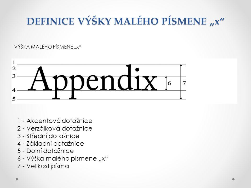 "DEFINICE VÝŠKY MALÉHO PÍSMENE ""x"" VÝŠKA MALÉHO PÍSMENE ""x"" 1 - Akcentová dotažnice 2 - Verzálková dotažnice 3 - Střední dotažnice 4 - Základní dotažni"