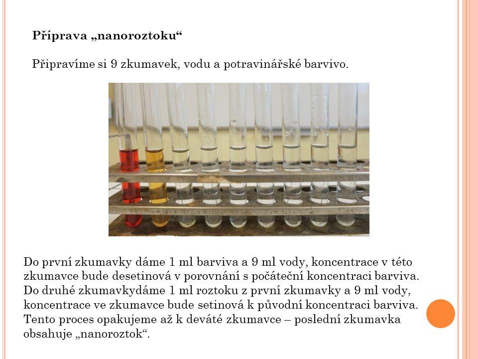 """Příprava """"nanoroztoku Připravíme si 9 zkumavek, vodu a potravinářské barvivo."""