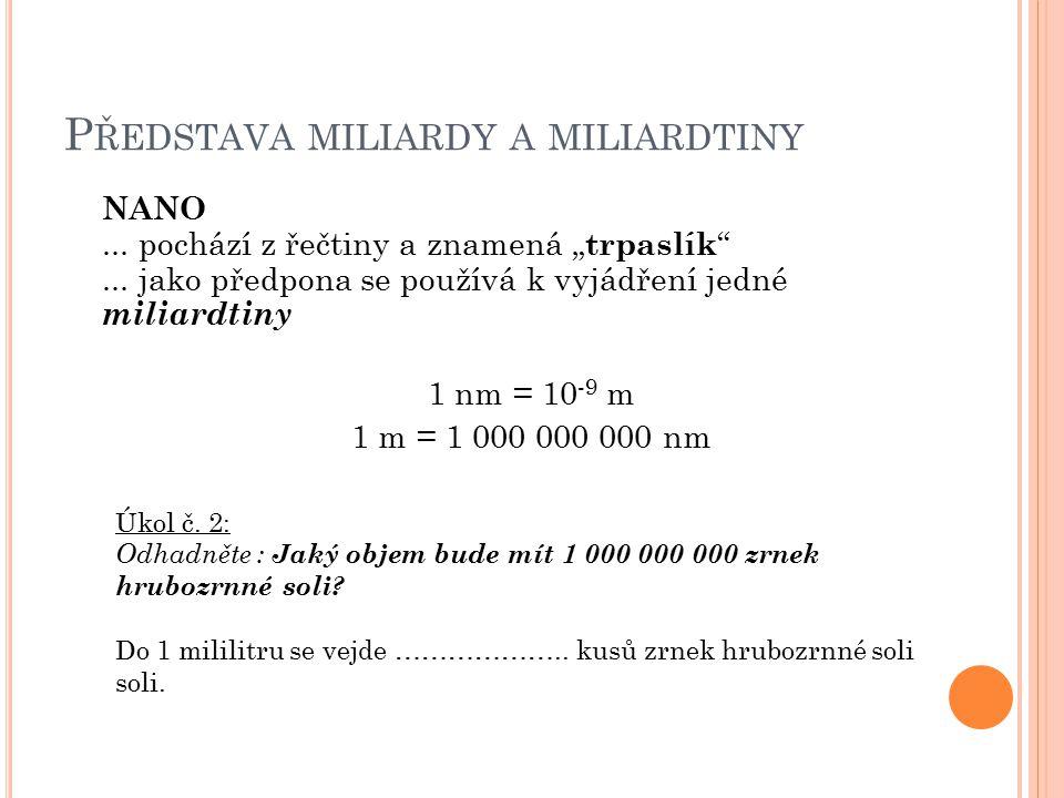"""P ŘEDSTAVA MILIARDY A MILIARDTINY NANO... pochází z řečtiny a znamená """" trpaslík ..."""