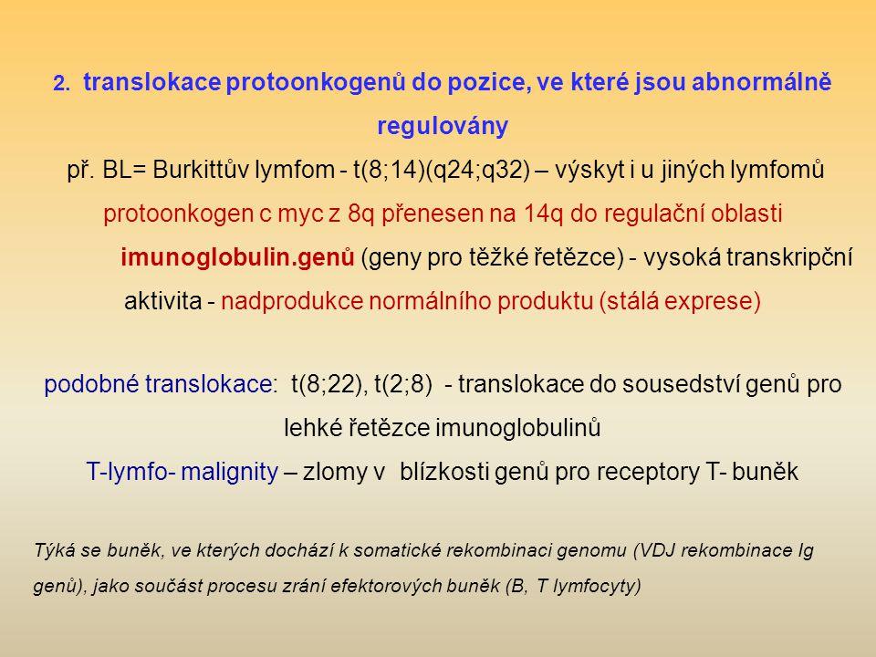 2. translokace protoonkogenů do pozice, ve které jsou abnormálně regulovány př. BL= Burkittův lymfom - t(8;14)(q24;q32) – výskyt i u jiných lymfomů pr