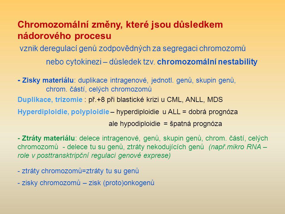 Chromozomální změny, které jsou důsledkem nádorového procesu vznik deregulací genů zodpovědných za segregaci chromozomů nebo cytokinezi – důsledek tzv