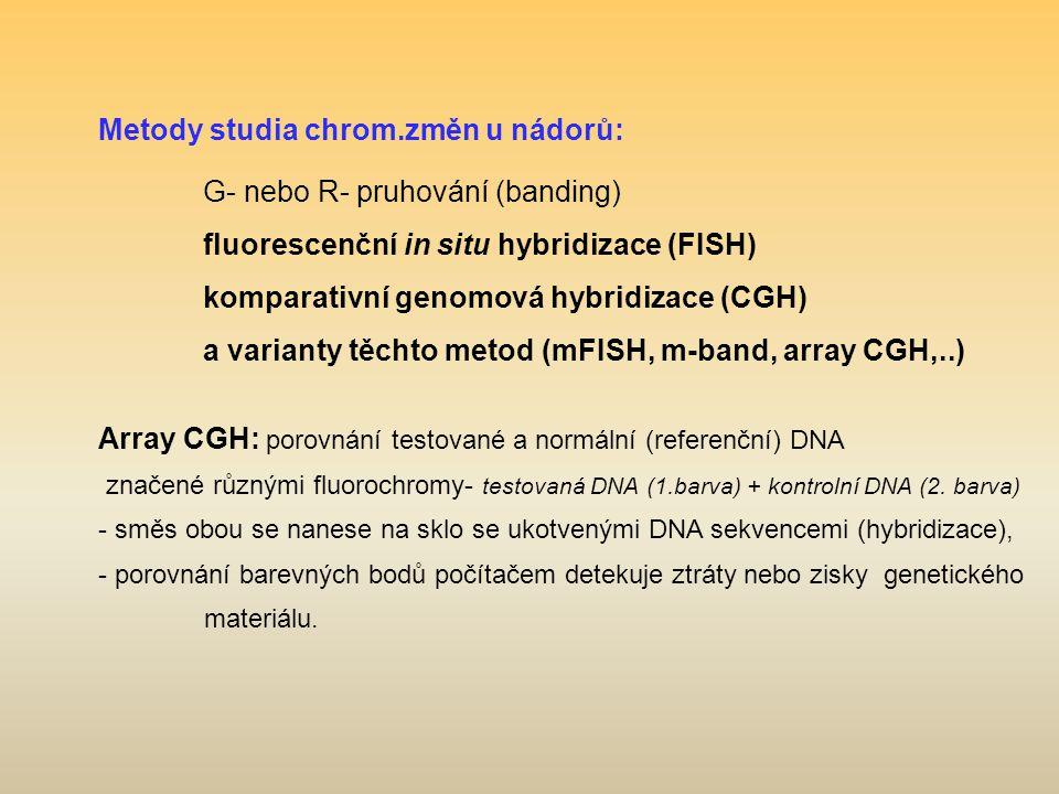 Metody studia chrom.změn u nádorů: G- nebo R- pruhování (banding) fluorescenční in situ hybridizace (FISH) komparativní genomová hybridizace (CGH) a v