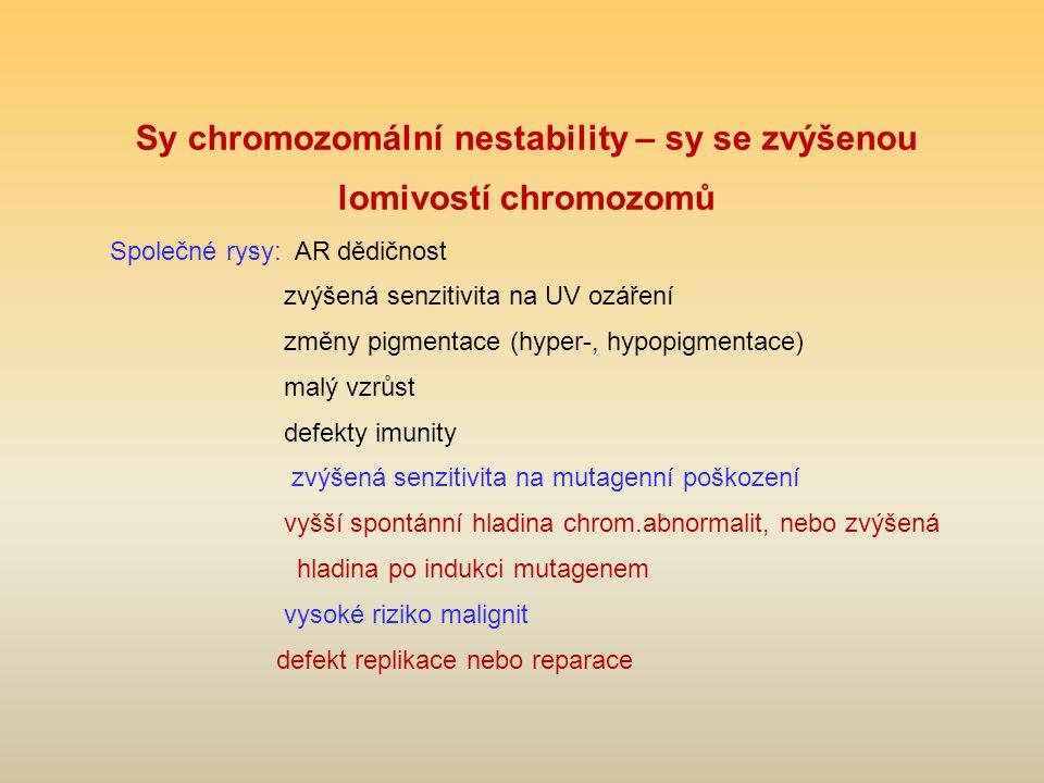 Sy chromozomální nestability – sy se zvýšenou lomivostí chromozomů Společné rysy: AR dědičnost zvýšená senzitivita na UV ozáření změny pigmentace (hyp