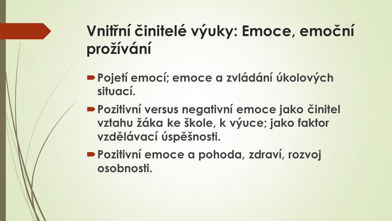 Vnitřní činitelé výuky: Emoce, emoční prožívání  Pojetí emocí; emoce a zvládání úkolových situací.  Pozitivní versus negativní emoce jako činitel vz