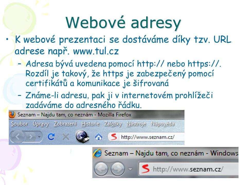 Webové adresy K webové prezentaci se dostáváme díky tzv.