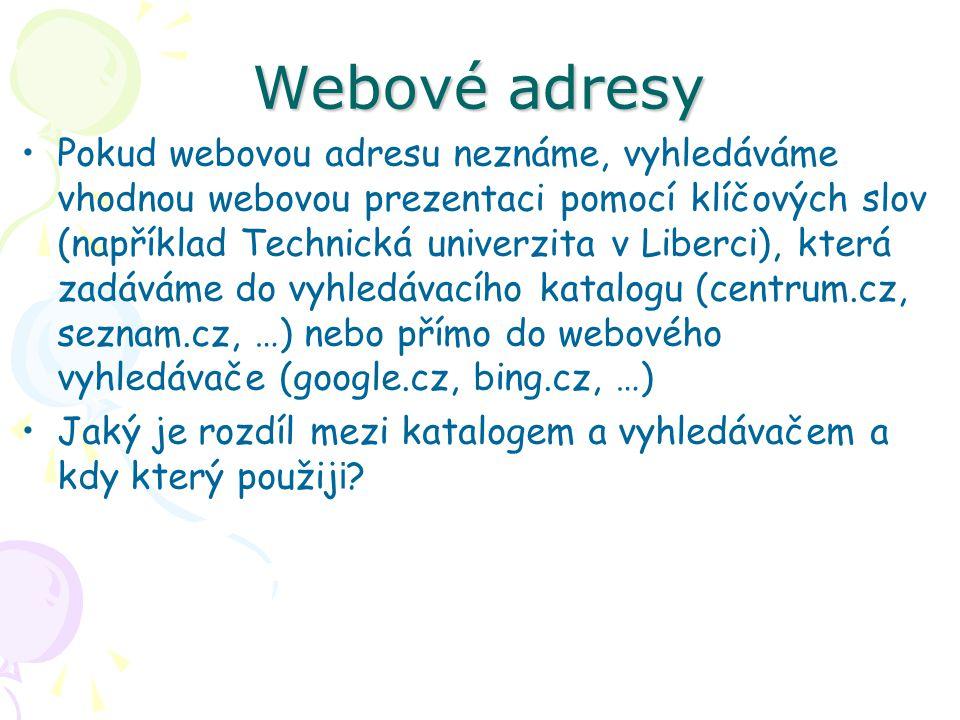 Webové adresy Pokud webovou adresu neznáme, vyhledáváme vhodnou webovou prezentaci pomocí klíčových slov (například Technická univerzita v Liberci), která zadáváme do vyhledávacího katalogu (centrum.cz, seznam.cz, …) nebo přímo do webového vyhledávače (google.cz, bing.cz, …) Jaký je rozdíl mezi katalogem a vyhledávačem a kdy který použij i