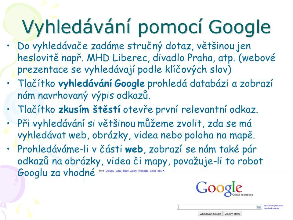 Vyhledávání pomocí Google Do vyhledávače zadáme stručný dotaz, většinou jen heslovitě např.