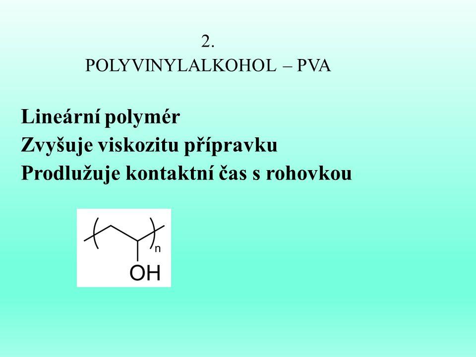 2. POLYVINYLALKOHOL – PVA Lineární polymér Zvyšuje viskozitu přípravku Prodlužuje kontaktní čas s rohovkou