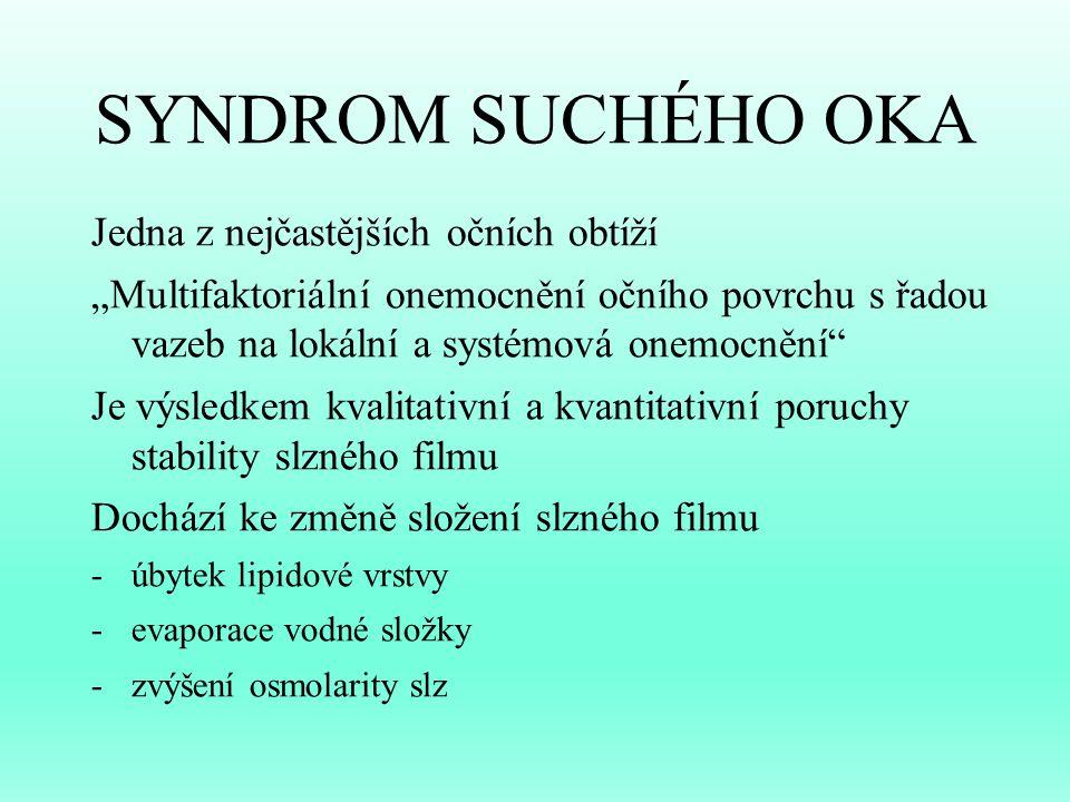 """SYNDROM SUCHÉHO OKA Jedna z nejčastějších očních obtíží """"Multifaktoriální onemocnění očního povrchu s řadou vazeb na lokální a systémová onemocnění"""" J"""
