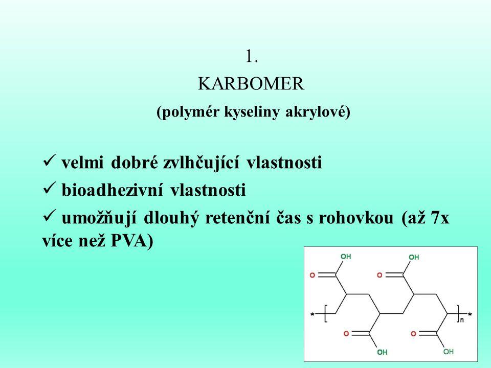 1. KARBOMER (polymér kyseliny akrylové) velmi dobré zvlhčující vlastnosti bioadhezivní vlastnosti umožňují dlouhý retenční čas s rohovkou (až 7x více