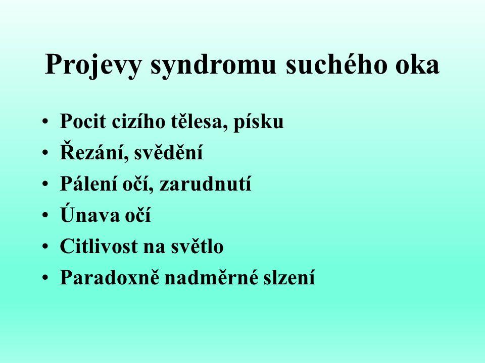 Přehled látek používaných k substituční terapii SSO S nízkou viskozitou 1.POVIDON 2.POLYVINYLALKOHOL 3.HPMC (HYDROXYPROPYLMETHYLCELULOSA ) 4.CMC (KARBOXYMETHYLCELULOSA) S vysokou viskozitou 1.KARBOMER 2.HYALURONÁT SODNÝ 3.XYLOGLUKAN (TSP-tamarind seed polysacharide) 4.HYDROXYPROPYLGUR