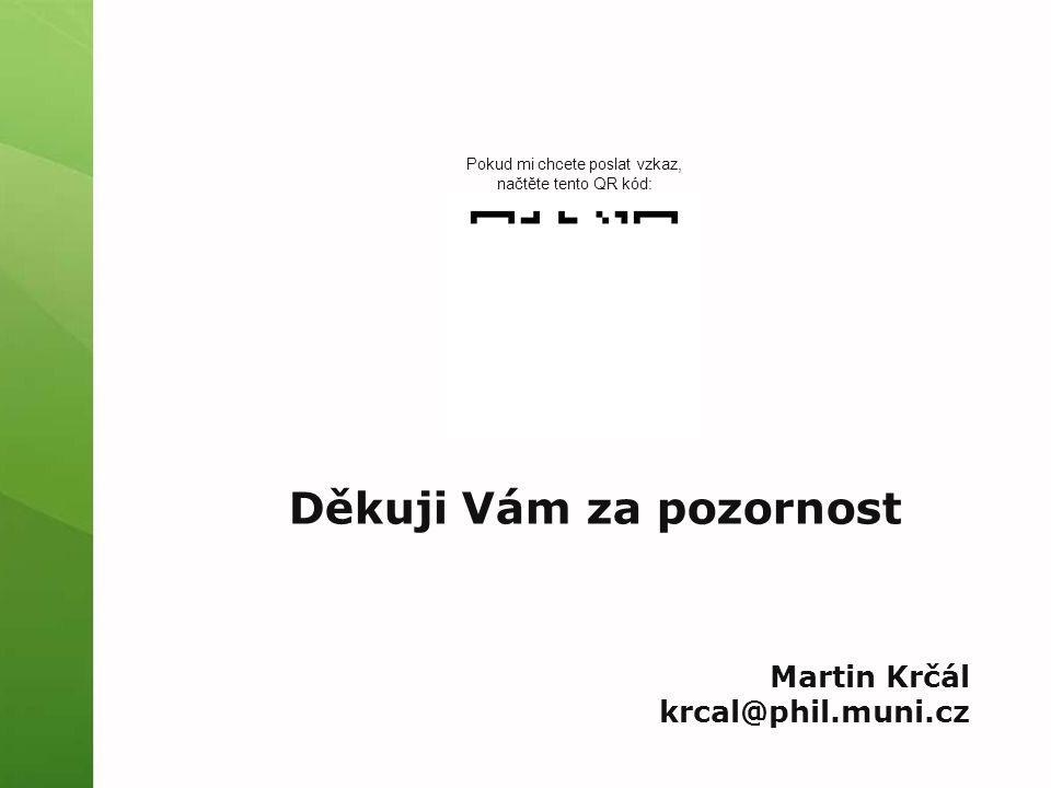 Děkuji Vám za pozornost Martin Krčál krcal@phil.muni.cz Pokud mi chcete poslat vzkaz, načtěte tento QR kód: