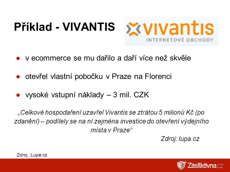 Příklad - VIVANTIS ●v ecommerce se mu dařilo a daří více než skvěle ●otevřel vlastní pobočku v Praze na Florenci ●vysoké vstupní náklady – 3 mil. CZK