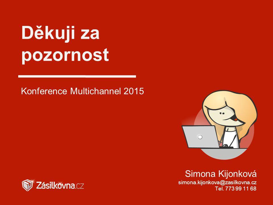 Děkuji za pozornost Konference Multichannel 2015 Simona Kijonková simona.kijonkova@zasilkovna.cz Tel. 773 99 11 68