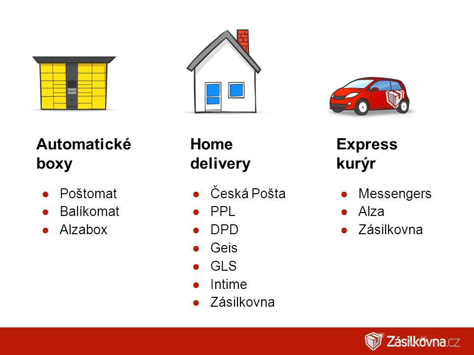 ●Poštomat ●Balíkomat ●Alzabox ●Česká Pošta ●PPL ●DPD ●Geis ●GLS ●Intime ●Zásilkovna ●Messengers ●Alza ●Zásilkovna Automatické boxy Home delivery Expre