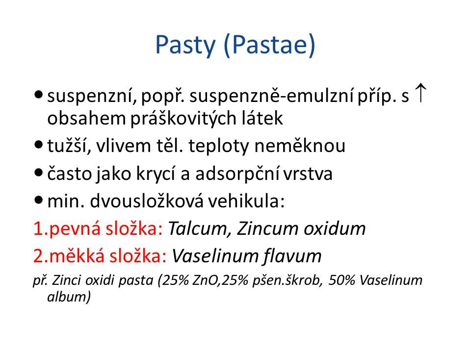 Pasty (Pastae) suspenzní, popř. suspenzně-emulzní příp. s  obsahem práškovitých látek tužší, vlivem těl. teploty neměknou často jako krycí a adsorpčn
