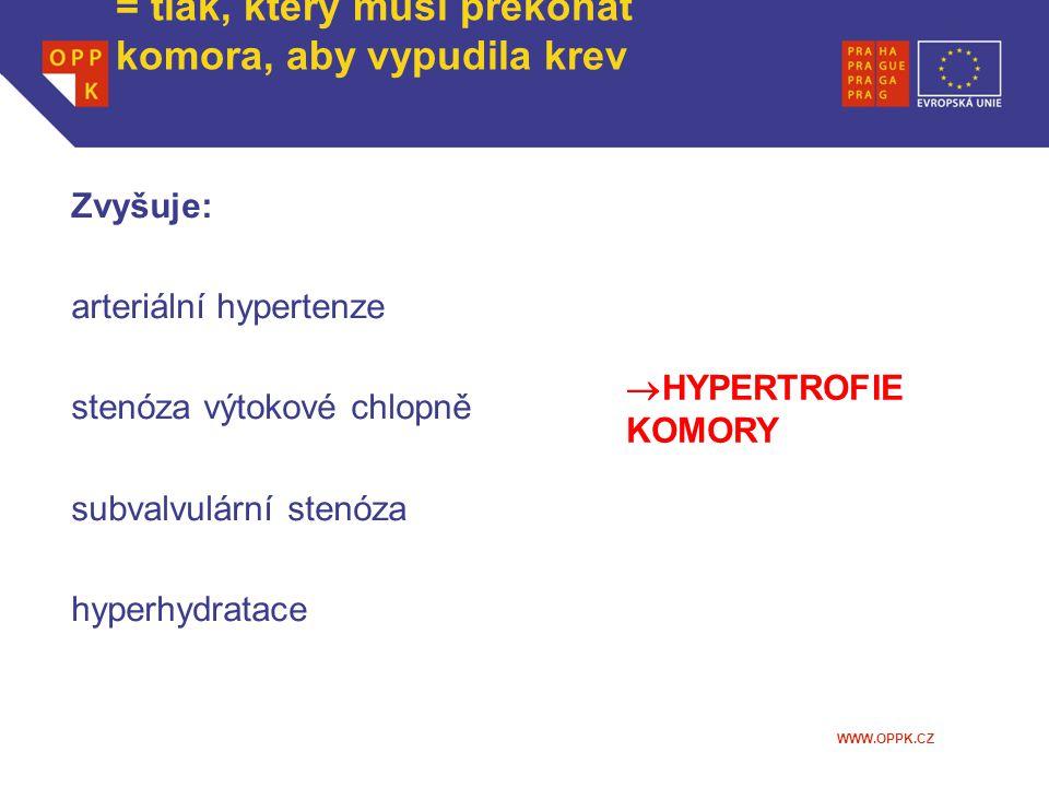 WWW.OPPK.CZ Afterload = tlak, který musí překonat komora, aby vypudila krev Zvyšuje: arteriální hypertenze stenóza výtokové chlopně subvalvulární sten