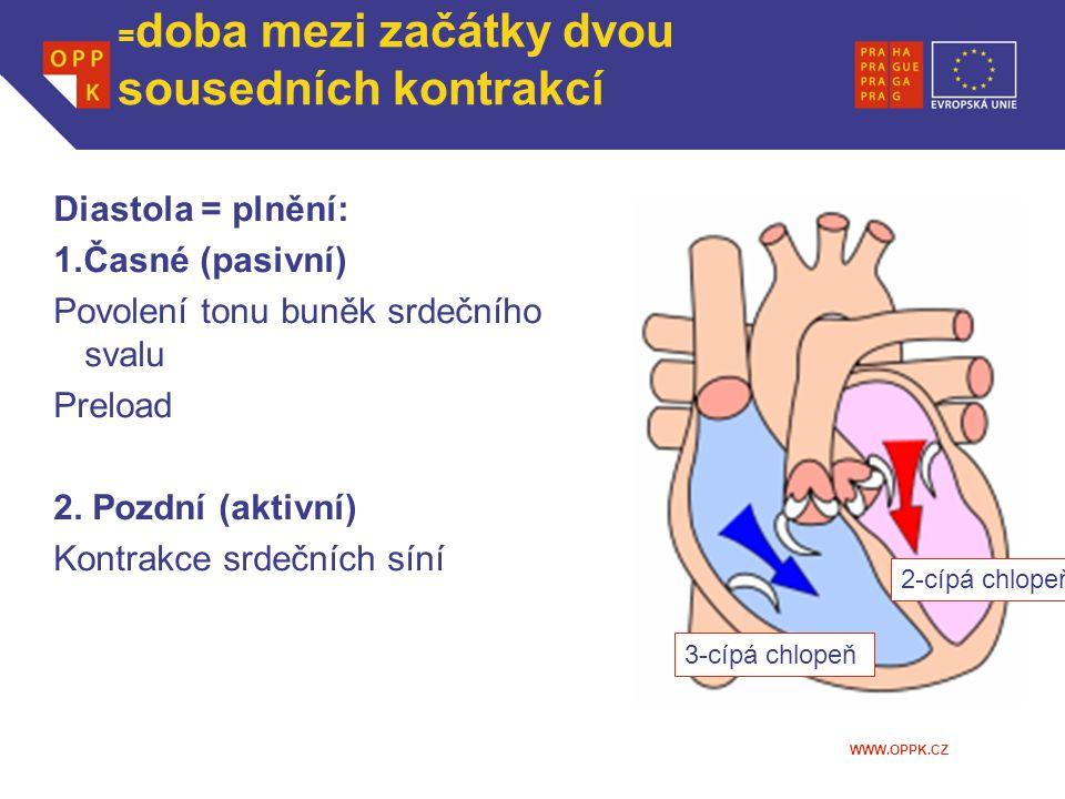 WWW.OPPK.CZ Srdeční revoluce z pohledu komory = doba mezi začátky dvou sousedních kontrakcí Diastola = plnění: 1.Časné (pasivní) Povolení tonu buněk s