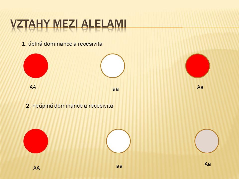 AA aa Aa 1. úplná dominance a recesivita 2. neúplná dominance a recesivita AA aa Aa