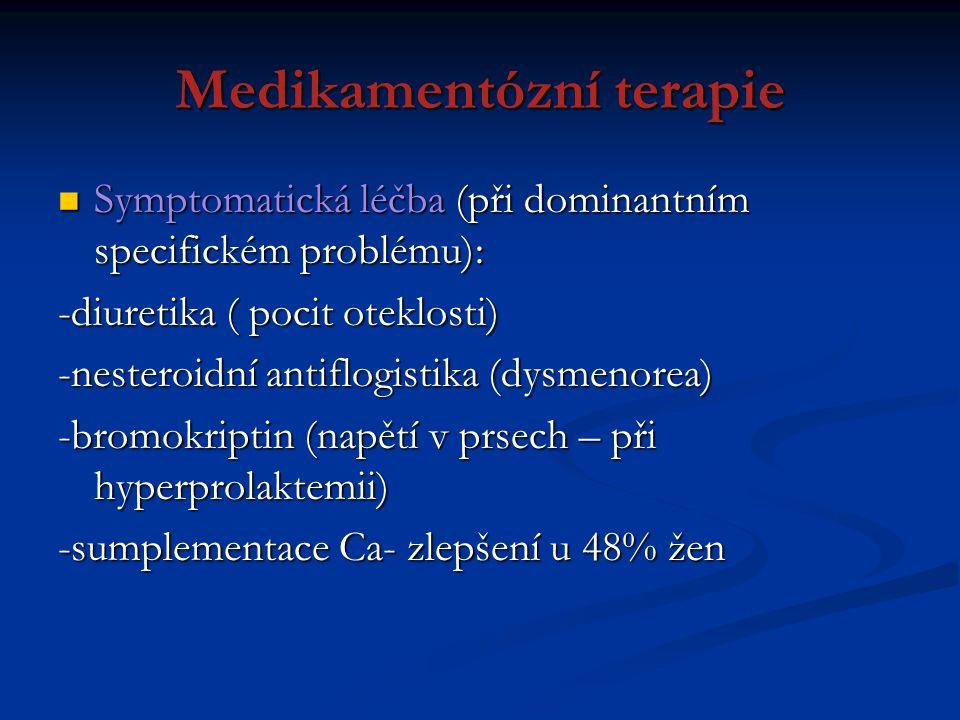 Medikamentózní terapie Symptomatická léčba (při dominantním specifickém problému): Symptomatická léčba (při dominantním specifickém problému): -diuret