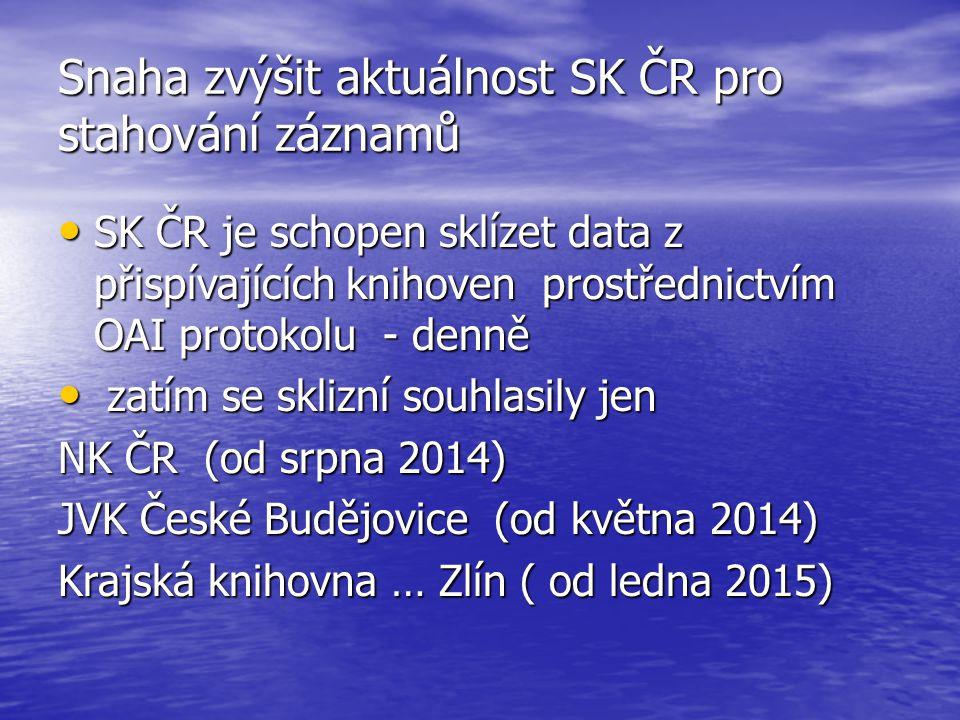 Snaha zvýšit aktuálnost SK ČR pro stahování záznamů SK ČR je schopen sklízet data z přispívajících knihoven prostřednictvím OAI protokolu - denně SK Č