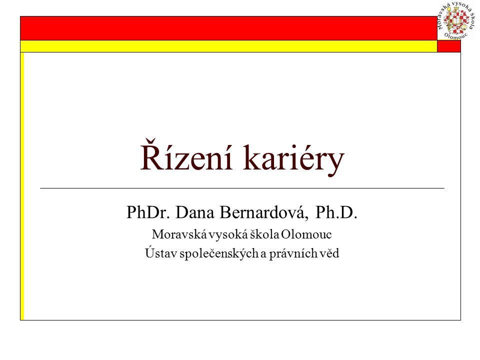 Řízení kariéry PhDr. Dana Bernardová, Ph.D. Moravská vysoká škola Olomouc Ústav společenských a právních věd