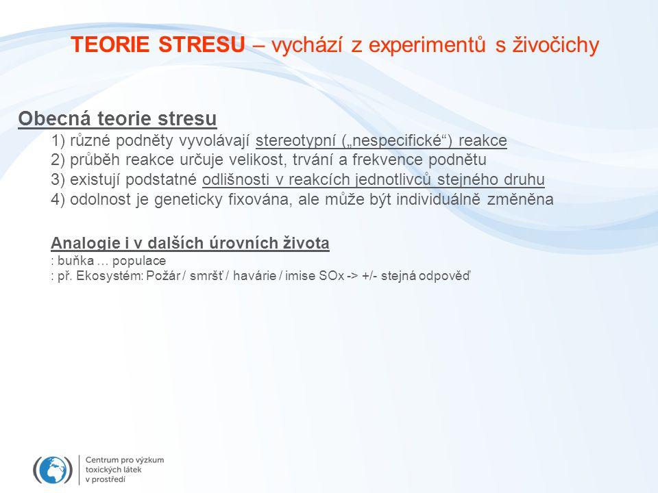 """TEORIE STRESU – vychází z experimentů s živočichy Obecná teorie stresu 1) různé podněty vyvolávají stereotypní (""""nespecifické ) reakce 2) průběh reakce určuje velikost, trvání a frekvence podnětu 3) existují podstatné odlišnosti v reakcích jednotlivců stejného druhu 4) odolnost je geneticky fixována, ale může být individuálně změněna Analogie i v dalších úrovních života : buňka … populace : př."""