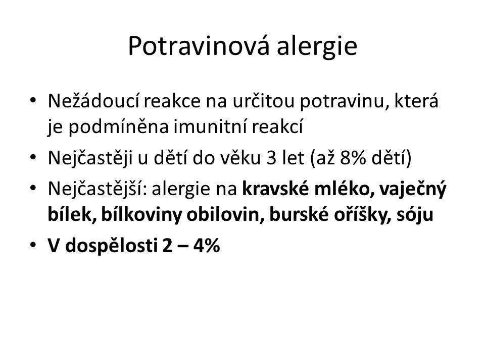 Potravinová alergie Nežádoucí reakce na určitou potravinu, která je podmíněna imunitní reakcí Nejčastěji u dětí do věku 3 let (až 8% dětí) Nejčastější: alergie na kravské mléko, vaječný bílek, bílkoviny obilovin, burské oříšky, sóju V dospělosti 2 – 4%