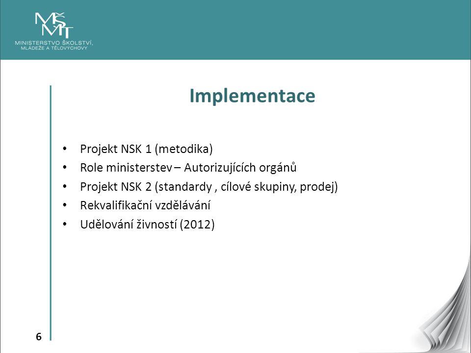 6 Implementace Projekt NSK 1 (metodika) Role ministerstev – Autorizujících orgánů Projekt NSK 2 (standardy, cílové skupiny, prodej) Rekvalifikační vzdělávání Udělování živností (2012)